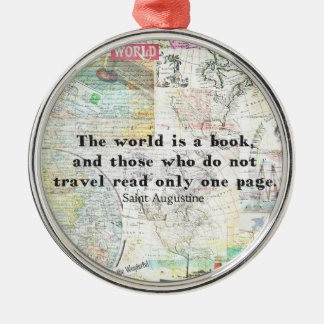 Världen är en bok RESER CITATIONSTECKEN Julgransprydnad Metall