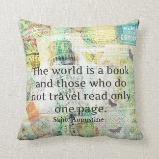 Världen är en bok reser citationstecken kudde