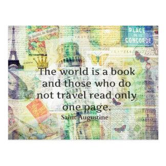 Världen är en bok reser citationstecken vykort