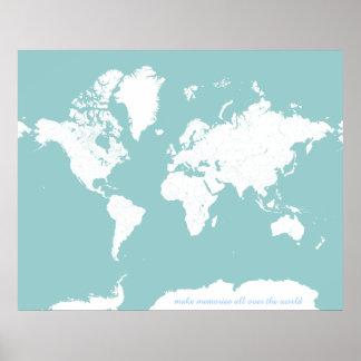 Världen reser kartan - anpassadebakgrundsfärg poster