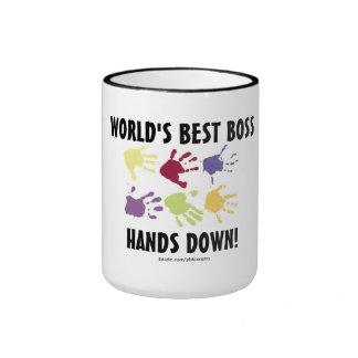 Världens besegrar den bäst chefhänder kaffemuggen ringer mugg