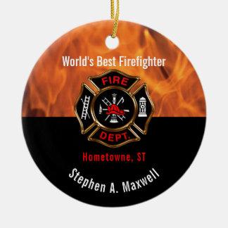 Världens flammar bäst brandman klassificerar det | julgransprydnad keramik
