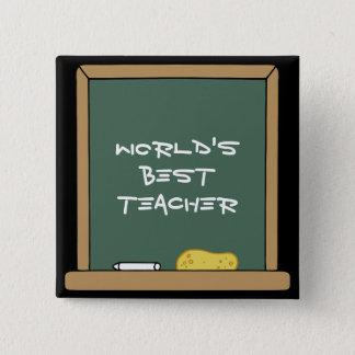 Världens knäppas bäst lärare standard kanpp fyrkantig 5.1 cm