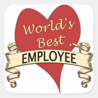 Världs bäst anställd fyrkantigt klistermärke