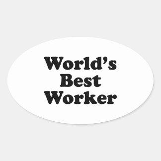 Världs bäst arbetare ovalt klistermärke