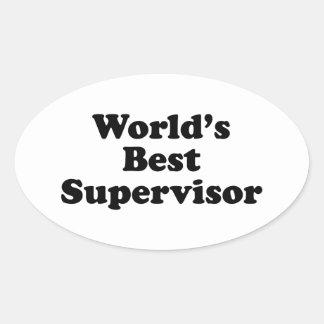 Världs bäst arbetsledare ovalt klistermärke