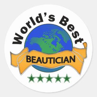 Världs bäst Beautician Runt Klistermärke