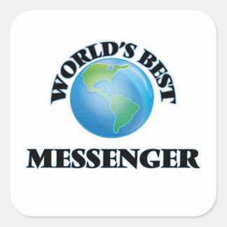 Världs bäst budbärare fyrkantiga klistermärken