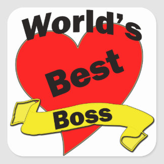 Världs bäst chef fyrkantigt klistermärke