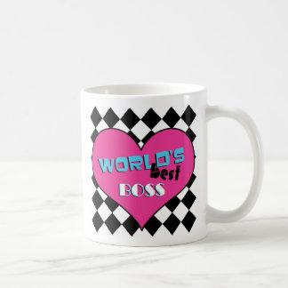 Världs bäst chef - rosa hjärta kaffe kopp