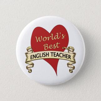 Världs bäst engelska lärare standard knapp rund 5.7 cm