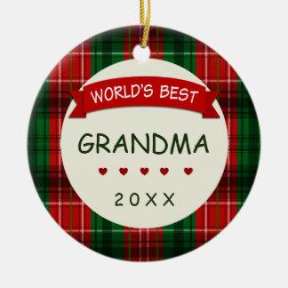 Världs bäst gåva 2017 för helgdag för mormor julgransprydnad keramik
