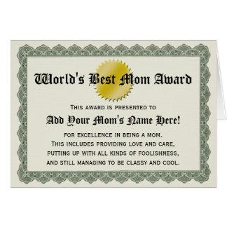 Världs bäst kort för certifikat för mammautmärkels