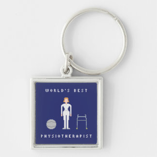 Världs bäst kvinnlig stil för Physiotherapist 8Bit Fyrkantig Silverfärgad Nyckelring