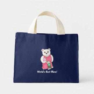 Världs bäst mamma! Den mammabjörnen och ungen häng Mini Tygkasse