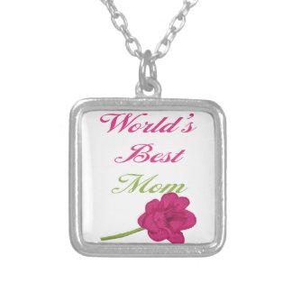 Världs bäst mammahalsband silverpläterat halsband