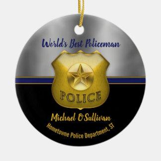Världs bäst minnessak för polisfoto julgransprydnad keramik