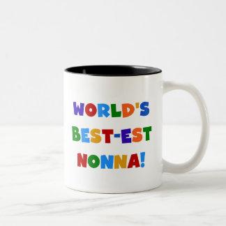 Världs bäst Nonna ljusa färger T-tröja och gåva Två-Tonad Mugg