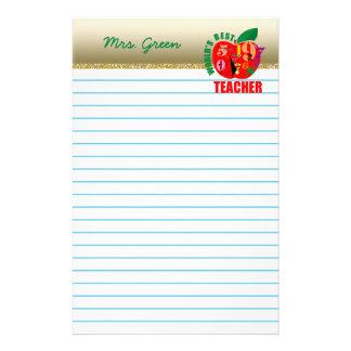 Världs bäst rött Apple fodrat papper för lärare |