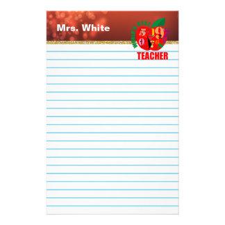 Världs bäst rött Bokeh för lärare ljus fodrat Brevpapper
