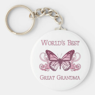 Världs bäst underbara mormor (fjärilen) rund nyckelring