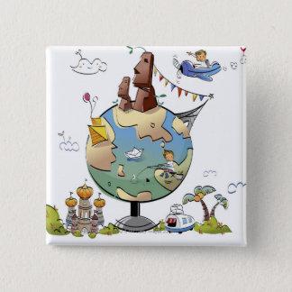 Världs berömdställen runt om jordklotet standard kanpp fyrkantig 5.1 cm