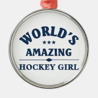 Världs fantastisk hockeyflicka julgransprydnad metall