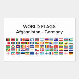 Världs flaggor: Afghanistan - Tyskland Rektangulärt Klistermärke