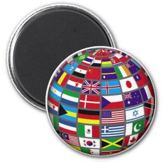 Världs flaggorjordklotmagnet magnet rund 5.7 cm