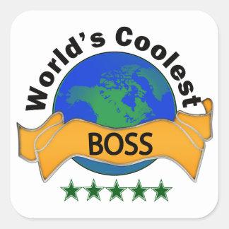 Världs kallaste chef fyrkantigt klistermärke