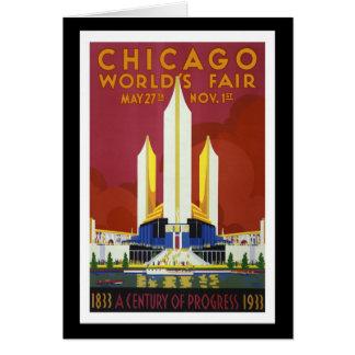 """""""Världs Mässa, Chicago, 1933"""" vintage Hälsningskort"""