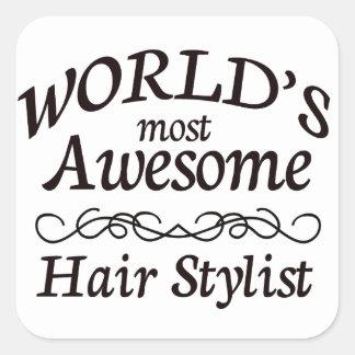 Världs mest enorm hårstylist fyrkantigt klistermärke