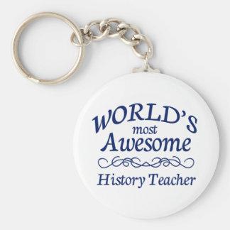 Världs mest enorm historielärare rund nyckelring