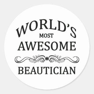 Världs mest enorma Beautician Runt Klistermärke