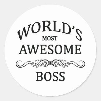 Världs mest enorma chef runt klistermärke