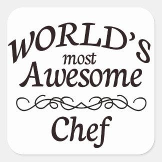 Världs mest enorma kock fyrkantigt klistermärke