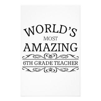 Världs mest fantastisk lärare för 6eklass brevpapper