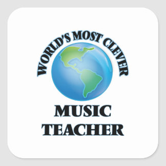 Världs mest klyftig musiklärare fyrkantigt klistermärke