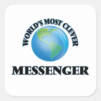 Världs mest klyftiga budbärare fyrkantigt klistermärke