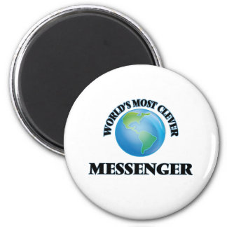 Världs mest klyftiga budbärare magnet rund 5.7 cm