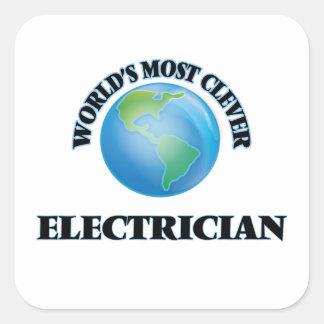 Världs mest klyftiga elektriker fyrkantigt klistermärke