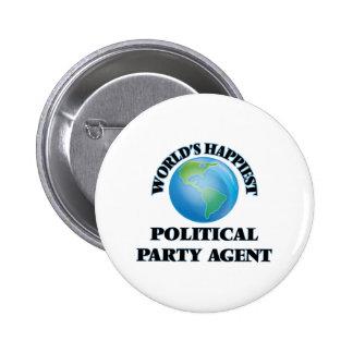 Världs mest lycklig politiskt partiagent standard knapp rund 5.7 cm