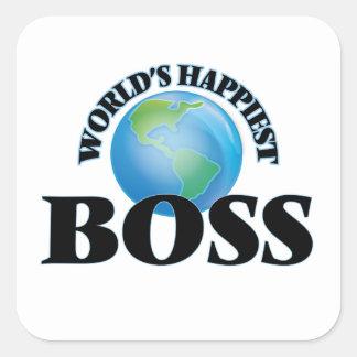 Världs mest lyckliga chef fyrkantigt klistermärke