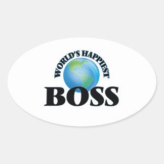 Världs mest lyckliga chef ovalt klistermärke