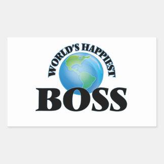 Världs mest lyckliga chef rektangulärt klistermärke