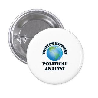 Världs mest lyckliga politisk analytiker mini knapp rund 3.2 cm