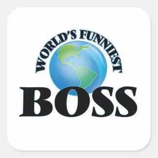 Världs mest roliga chef fyrkantigt klistermärke