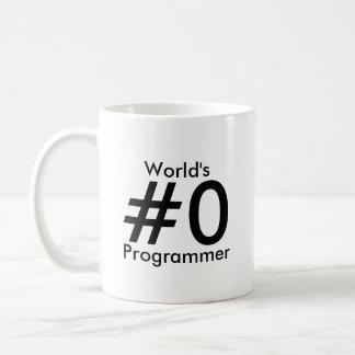 Världs mugg för #0-programmerare vit mugg