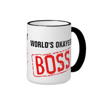 Världs mugg för kaffe för Okayest chef