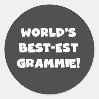 Världs T-tröja och gåvor för Bäst-est Grammie vit Runt Klistermärke